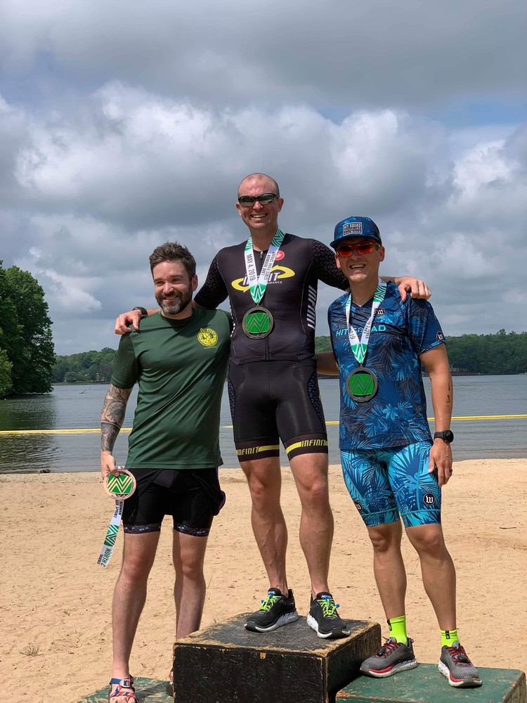 2019 Lake Norman Sprint Tri Podium - 4 OA, 1 AG