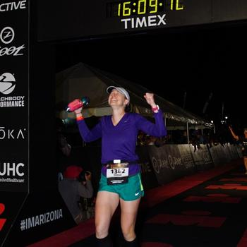 Finishing my first Ironman.  Ironman Arizona 2017
