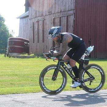On the bike at Ironman 70.3 Steelhead