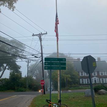 Even when you ride for hours to forget about COVID-19, you come across a flag at half mast and it brings you back to reality.