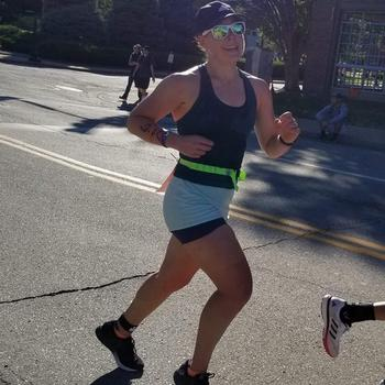 Still smiling during the Ironman Run portion
