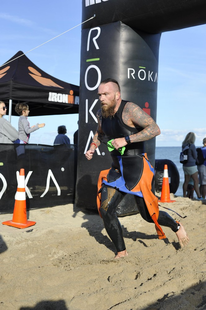 Coming out of the water at 2017 Ironman 70.3 Steelhead