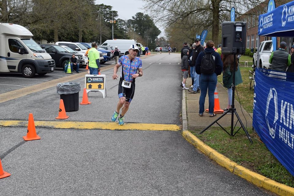 Heading to the finish line and first place 55-59 Age Group Kinetic Multisports Smithfield, VA Sprint Triathlon April 2019