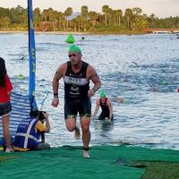Exiting the water at MiamiMan 1/2 Ironman 2017